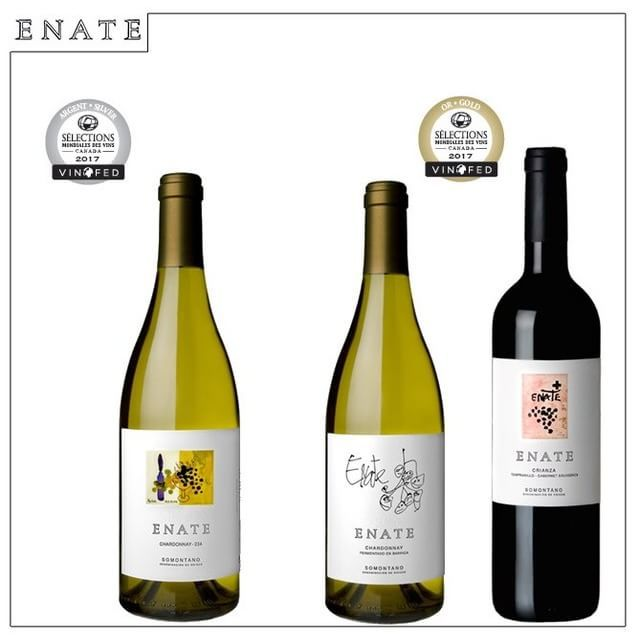Estamos de enhorabuena con un nuevo reconocimiento en el concurso internacional Sélections mondiales des Vins Canadá.    Nuestros ENATE Crianza 2013 y ENATE Chardonnay Fermentado en Barrica 2015 han recibido medalla de oro, mientras que ENATE Chardonnay 234 2016 ha sido distinguido con medalla de plata.
