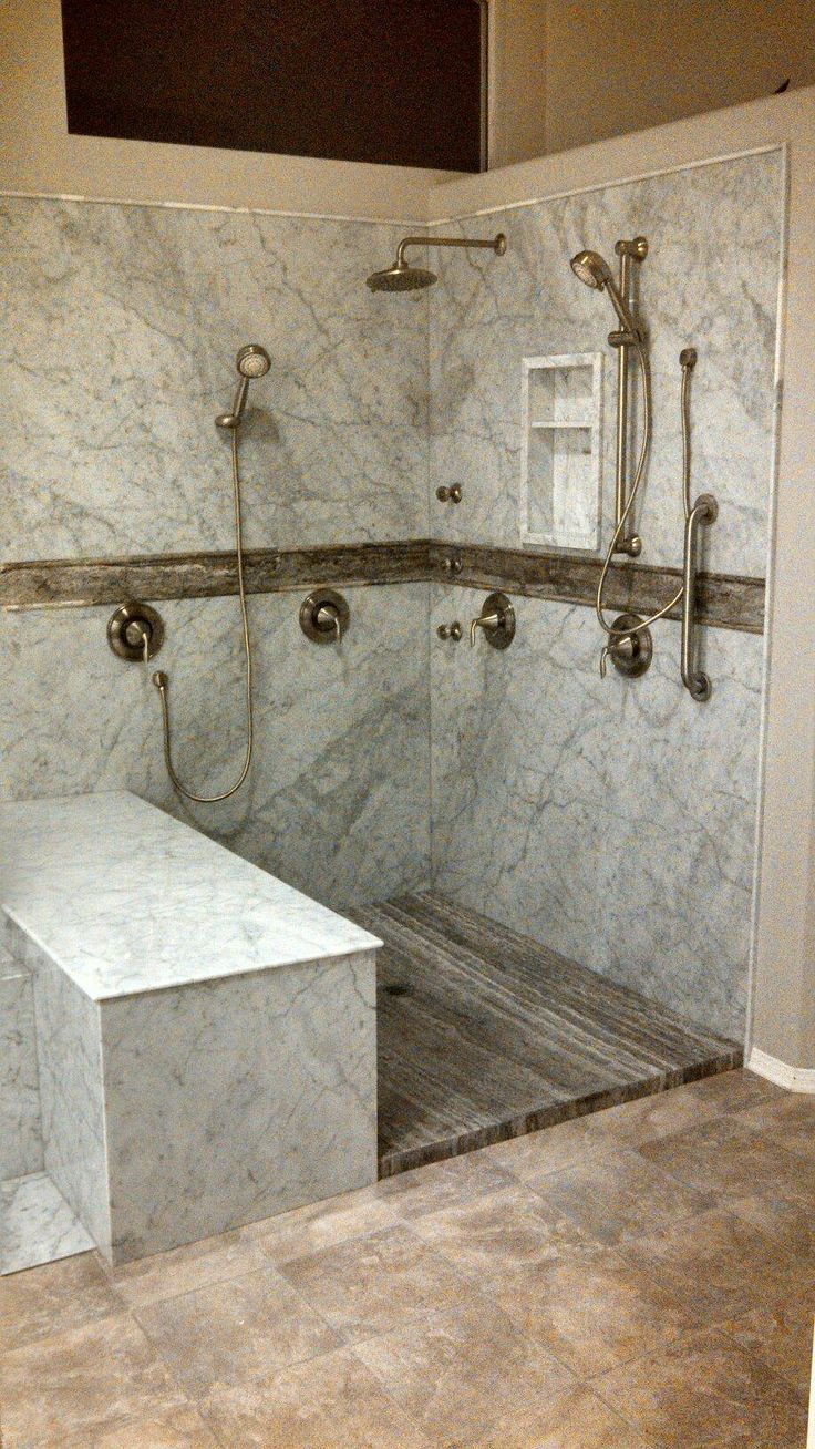 White Carrara Forzastone Shower With Silver Vein Cut Accent And Flooring Great Work Pacific
