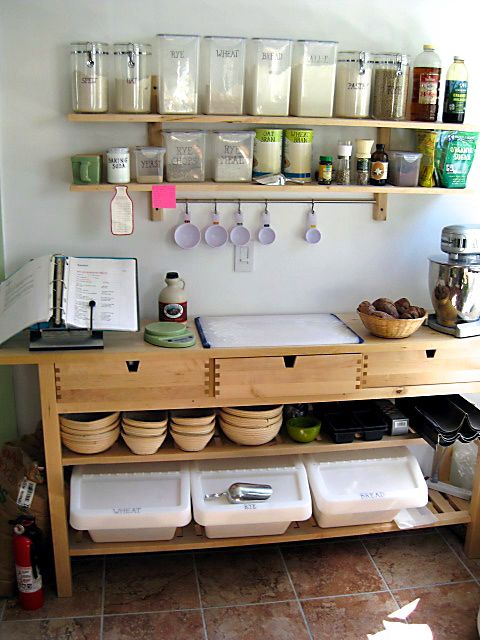 My bake station - Ikea toy bins work really well for storing flour.