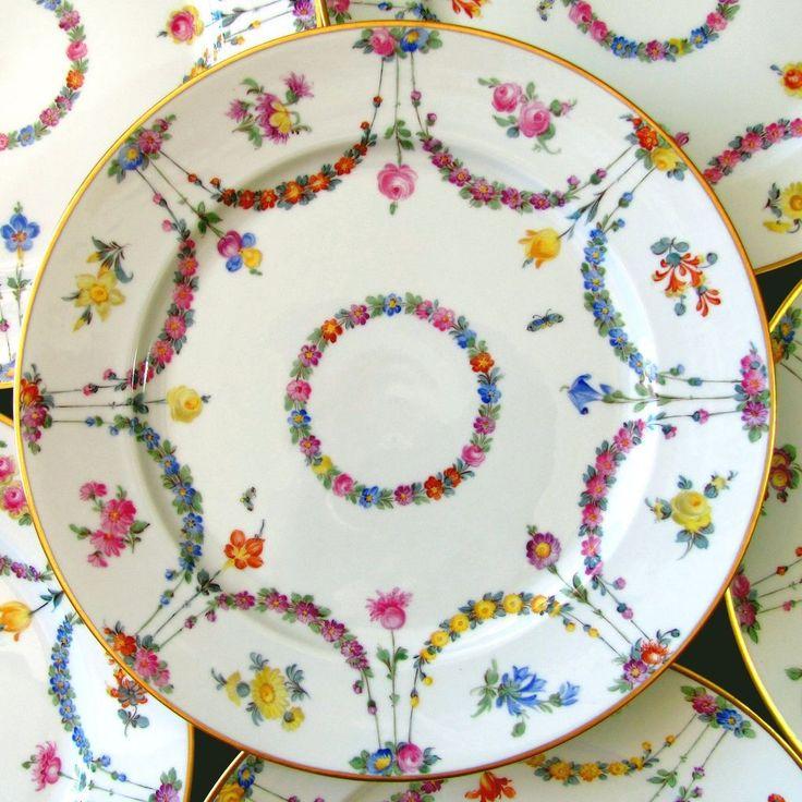 Set of 6 Ambrosius Lamm Dresden German Porcelain Hand Painted Dinner Plates  sc 1 st  Pinterest & 1258 best Porcelana images on Pinterest | Porcelain Cat art and ...