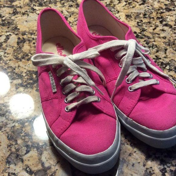 SALE Ellesse hot pink sneaks.  Worn once Really cute hot pink sneakers.  Medium width.  Washed. Ellesse Shoes Sneakers
