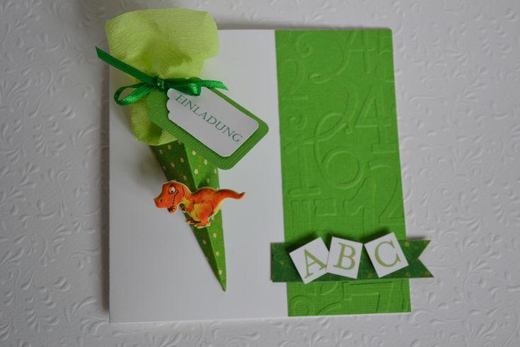Einladung Glückwunschkarte Einschulung !Dino! von Kartenträume & Fotozauber auf DaWanda.com