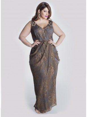 Carolina Evening Plus Size Gown in Gold/Slate