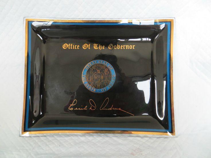 Vintage Memorabilia Glass Plate Black Idaho Governor Cecil Andrus by FabulousFunFashion on Etsy