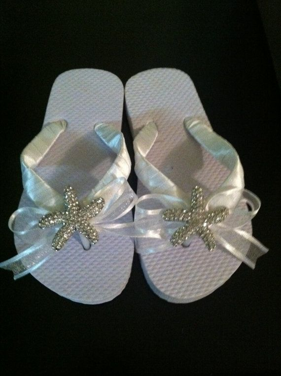 Rhinestone Starfish Beach Wedding Flip Flop by WeddingsUnique, $35.00..Don't forget beach themed personalized napkins! #itsallinthedetails www.napkinspersonalized.com