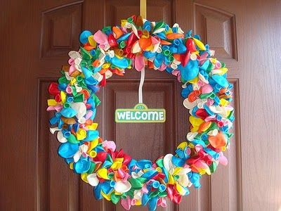 Such a fun idea for a birthday wreath (minus the sesame street sign): The Doors, Birthday Parties, Sesamestreet, Parties Ideas, Sesame Streets, Balloon Wreaths, 2Nd Birthday, Street Parties, Birthday Ideas