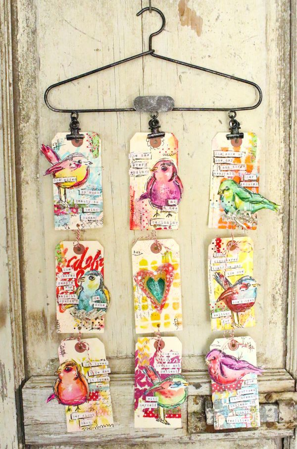 Dina Wakley bird tags