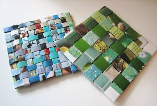 DIY Recycled Woven Magazine Coasters ~ each uses 6 glossy pages (12 for the smaller woven one on the left) ~ I must try this, since my dog chews soft coasters & the teenagerss drop the hard ones on the end tables, I need some free coasters!
