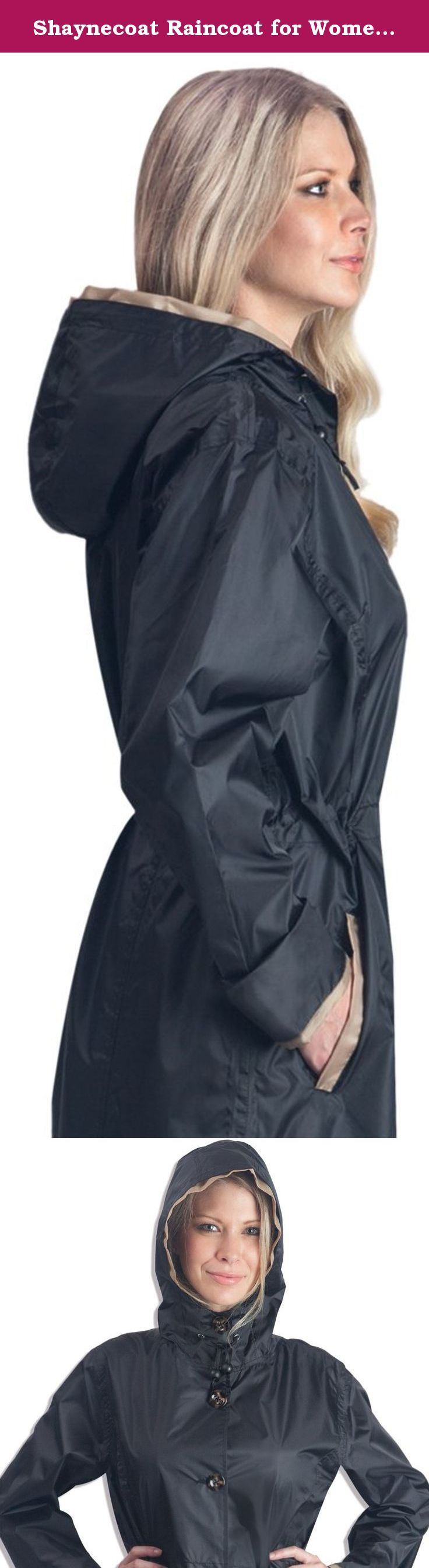 Shaynecoat Raincoat for Women Black and Gold (XL). Brand new design! Beautiful black fabric with gold accents on hood and pockets. Look good stay dry, The one and only Shaynecoat for women, A full length raincoat to keep you dry from head to toe, An adjustable waist for a more fashionable look. 100% waterproof!.