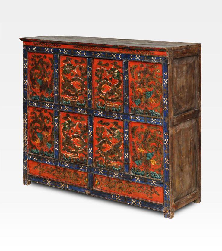 Antica credenza monastica Tibet - H. 109 cm - L. 127 cm - P. 40 cm - Pino - XIX Sec - Tibet.