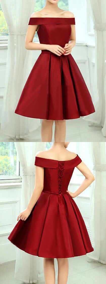 Burgundy Off Shoulder Bow Waist Homecoming Bandeau Dress:
