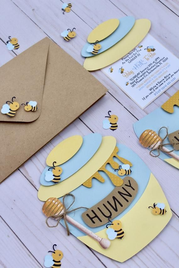 12 cts/ Bee & Honey theme Jar invitations for Baby Shower, Gender Reveal or Birthday party