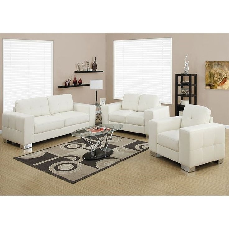 Monarch 3 Piece Leather Sofa Set in Ivory