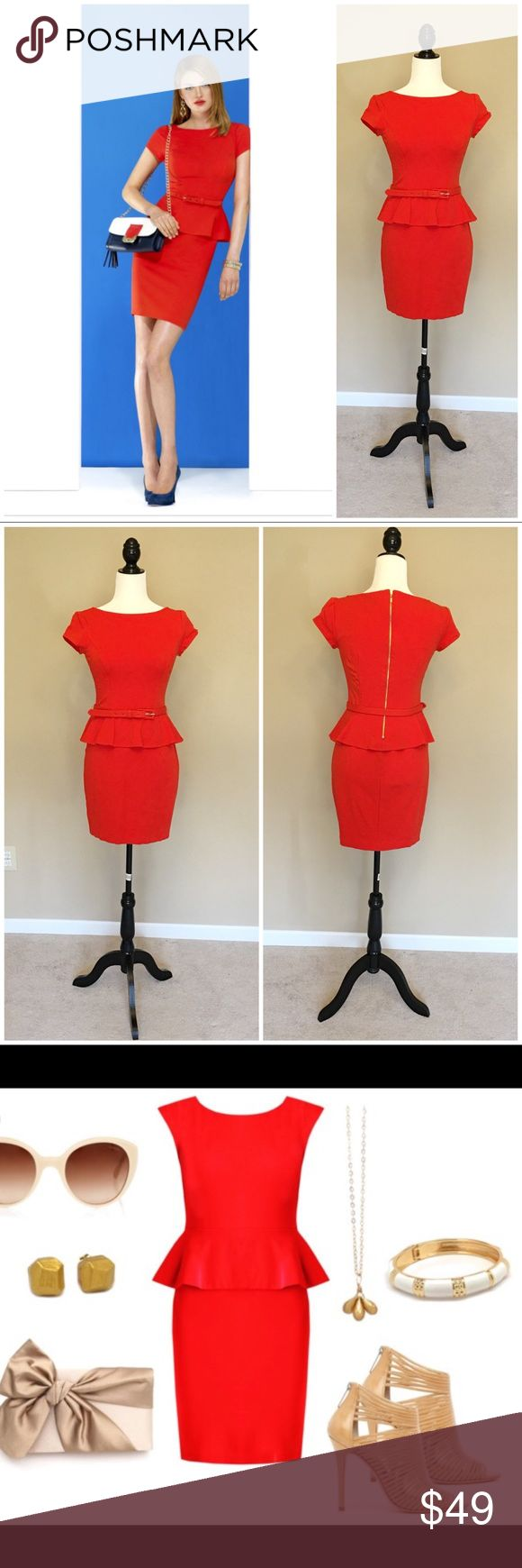 CACHE Red Peplum Dress Gorgeous red Peplum dress featuring short sleeves, a removable belt, gold back zipper! Perfect for a special occasion & holiday parties! I've included a styling image of the dress! Cache Dresses