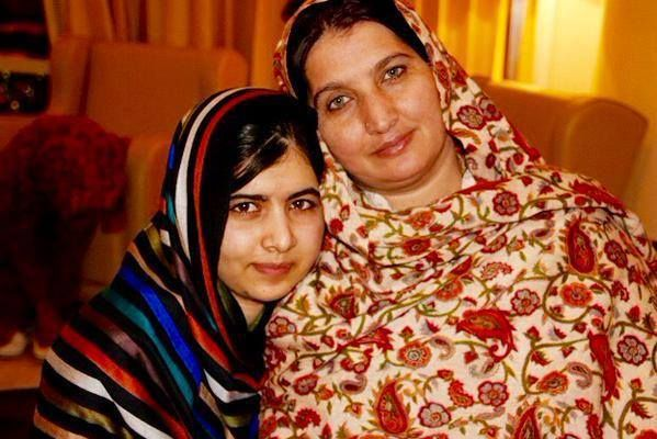 """Malala with her mother, Tor Pekai Yousafzai, along with a message from Tor: """"I call on all parents to empower their daughters through education."""""""