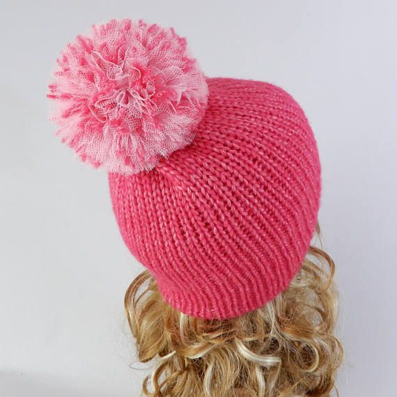 Winter beanie women Pink beanie pom pom Knit winter hat Knit