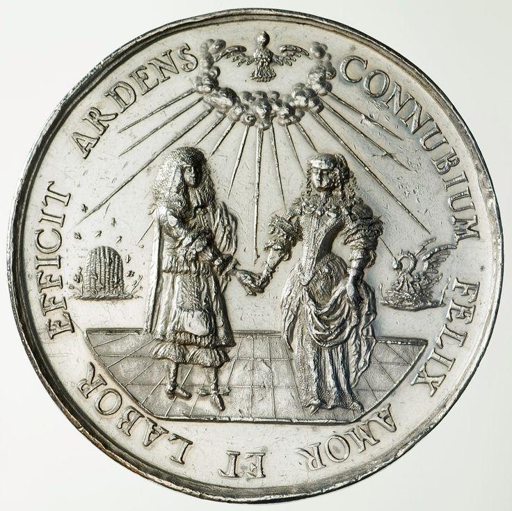 Medal on the occasion of marriage of Michael Korybut Wiśniowiecki and Eleanor Maria Josefa of Austria by Johann Höhn, 1670, Zamek Królewski w Warszawie (ZKW)