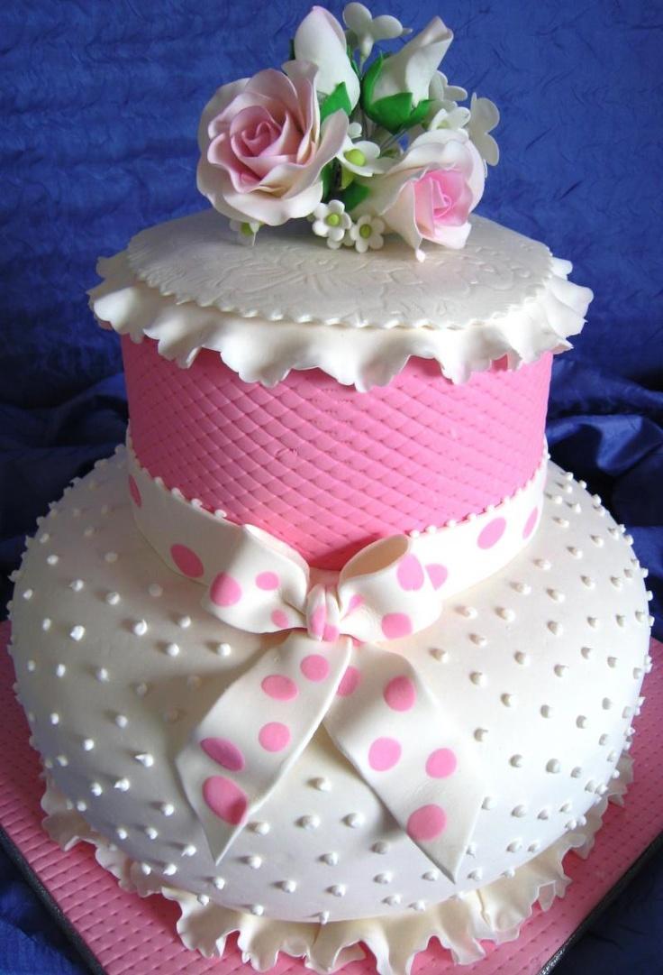 pretty pink and white cake #wedding www.BlueRainbowDesign.com