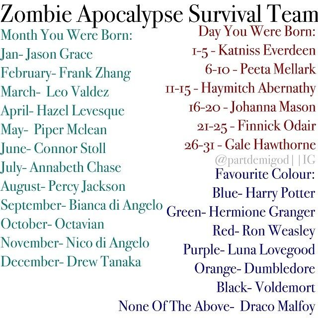 My survival team: Leo Valdez, Johanna Mason, Harry Potter. Our team is called.....TEAM LEO!!!!!