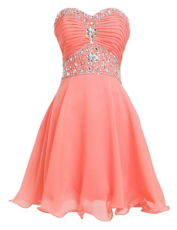 Classic A-line Sweetheart Knee Length Chiffon Homecoming Dress With Beading