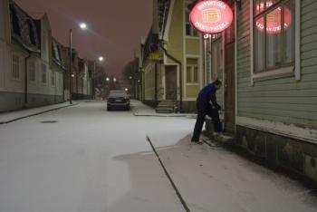 Winter evening at Vallilantie, Helsinki Finland