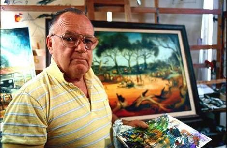 "Pro Hart - Kevin Charles ""Pro"" Hart, MBE, (30 May 1928 – 28 March 2006) was an Australian artist, born in Broken Hill, New South Wales, who was considered the father of the Australian Outback painting movement. He grew up on his families sheep farm in Menindee, New South Wales and was nicknamed ""Professor"" (hence ""Pro"") during his younger days, when he was known as an inventor."