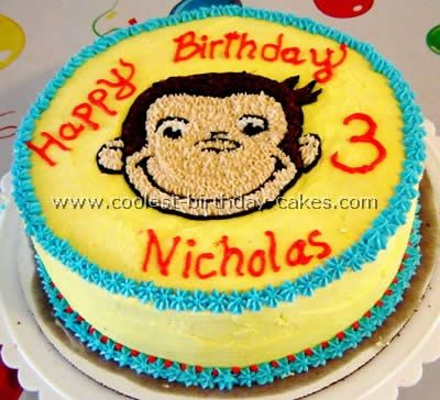 Nic has taken to curious George these past few days and I thought about doing his birthday In curious George This Cake is perfect his name just wrong age :)