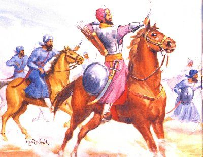In this struggle, he fought six battles with the Mughals in the plains of the Punjab. People came to him and joined his forces because they felt that no one else had the power to stand against the Emperor. In one of these battles he defeated 7,000 Mughal soldiers.