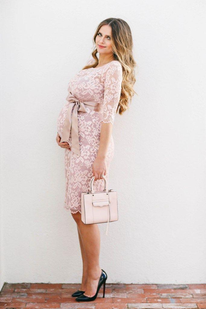 c5b50dc45b1  BumpStyle    Blush Pink Lace Maternity Dress