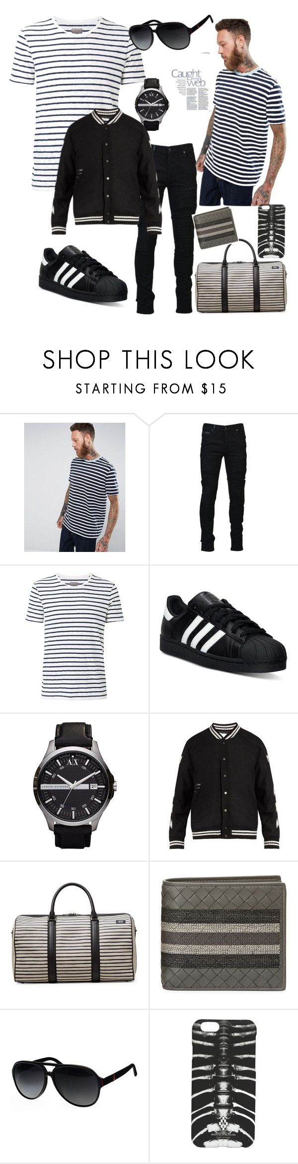 """Men's stripes"" by griselvega420 ❤ liked on Polyvore featuring ASOS, Marcelo Burlon, Witchery, adidas, Armani Exchange, Off-White, Jack Spade, Bottega Veneta, Gucci and men's fashion"