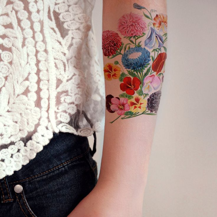 Large and colorful floral temporary tattoo