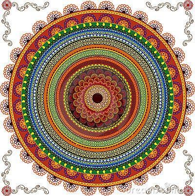 Colourful Henna Mandala Background