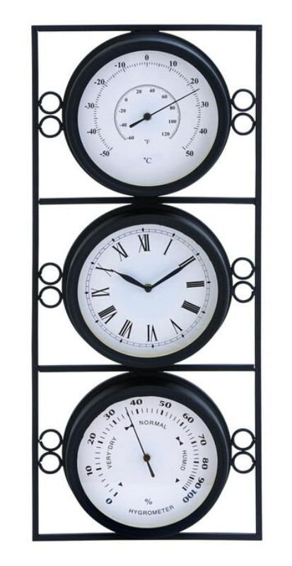 Contemporary Metal Clock With Two Thermometer & Minimal Style.  Looking To Add Style And Beauty To Your Living Room? If You Are, Then This Metal Clock Thermometer Is An Ideal Choice. Sporting An Intricate Design, This Attractive Clock Thermometer Features Two Thermometers On Either Side Of A Clock. Elaborately Designed, The Clock Is Glazed In Black And Is Crafted With Fine Attention To Detail By Master Workmen From China. Sophisticated In Appearance, The Clock Is Simple In Design And Is I...