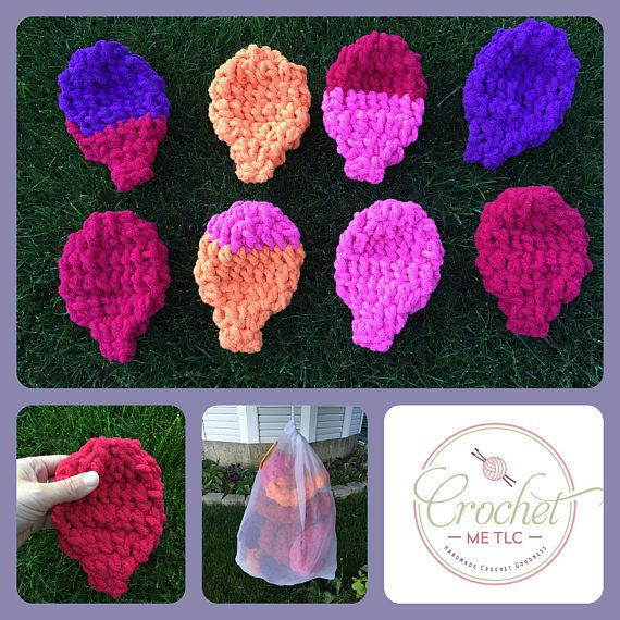 This listing is for one set of 8 crocheted water balloons and mesh bag. These re-useable water balloons are so much fun! Simply place them in a bucket of water and watch the kids have fun throwing them about. The absorbent yarn creates a most satisfying splat, and no messy latex bits all
