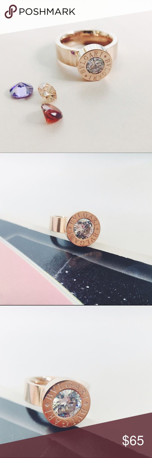 bulgari rose gold ring with cz stones bvlgari gorgeous rose gold fashion bvlgari ring with