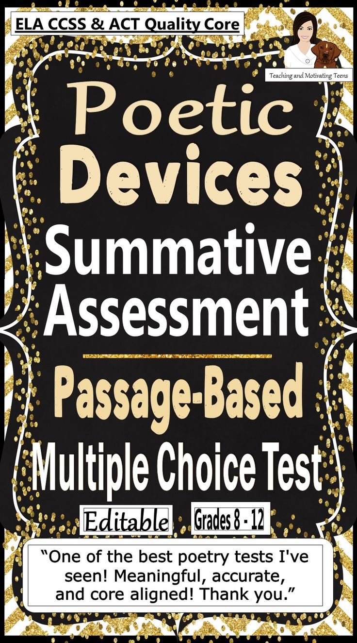 20-question multiple-choice test based on four separate poems; this assessment is perfect for an end-of-unit test on poetry. It is in multiple choice format for English Language Arts grades 8 - 12. The four poems provide a state-test-like format wherein your students apply their knowledge of the standards and concepts they have learned to four pieces they have not studied. An ELA test you'll use over and over.