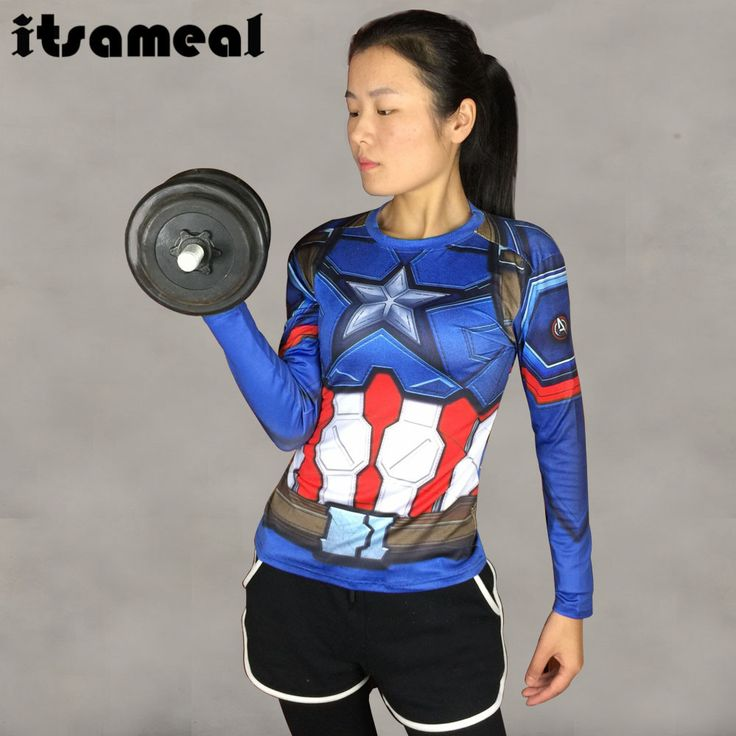 3D Printed T-shirts Captain America Compression Shirt Long Sleeve Cosplay Clothing Tops Female Halloween Costumes For Women
