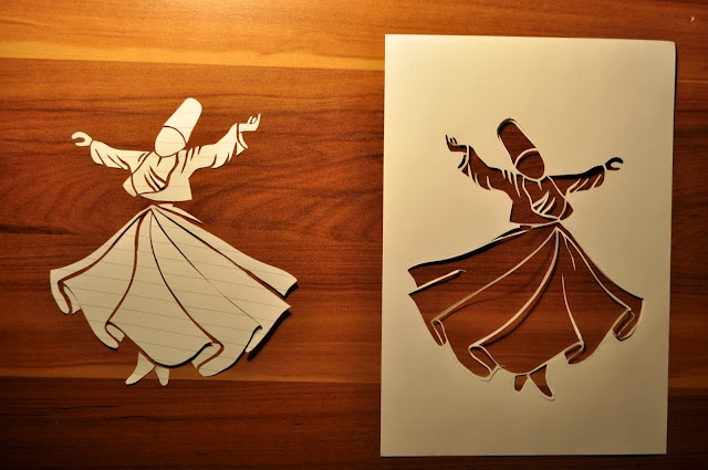 whirling dervishes paper cutting, pattern