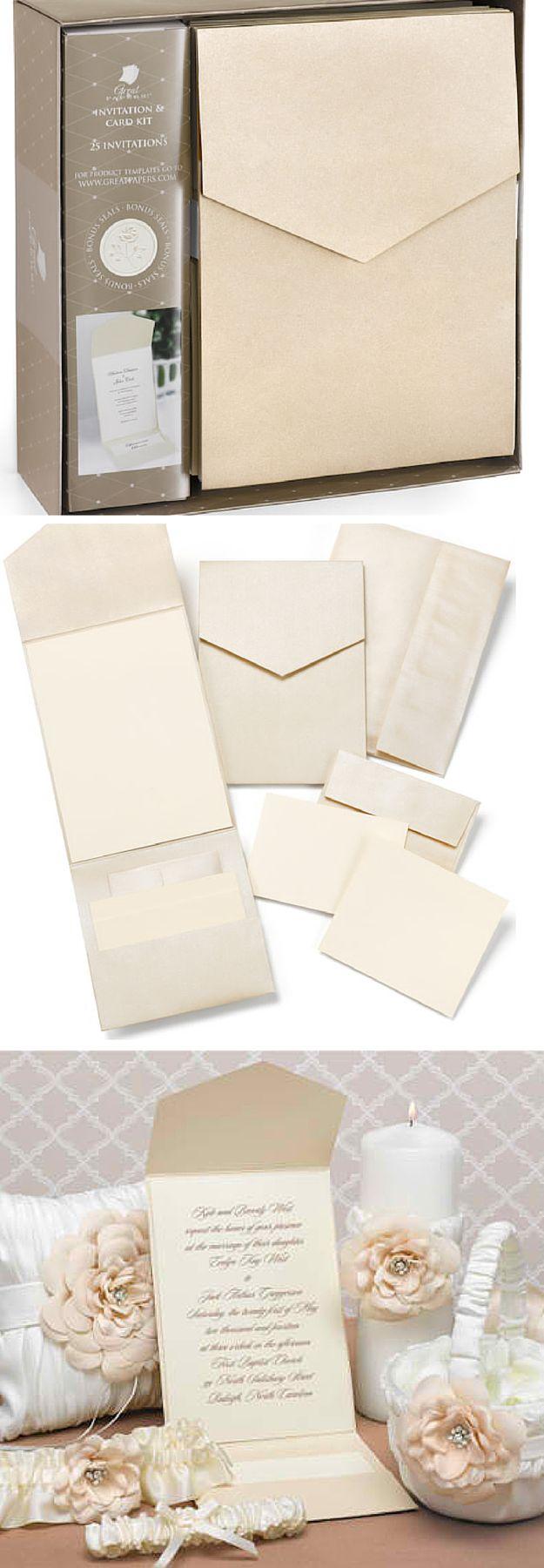 Champagne Shimmer DIY Pocket Wedding Invitation Kit|DIY Wedding Invitation Kits,see more at: http://diyready.com/diy-wedding-invitation-kits/