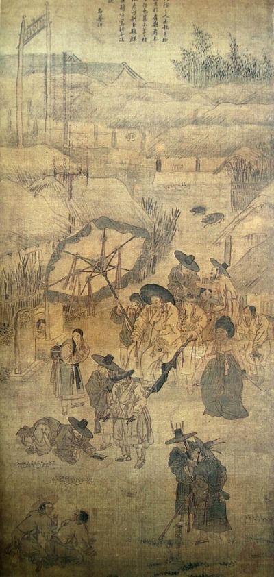 (Korea) 醉中訟事 1778, Folder Screens by Kim Hong do (1745- 1806). color on paper. National Museum of Korea.