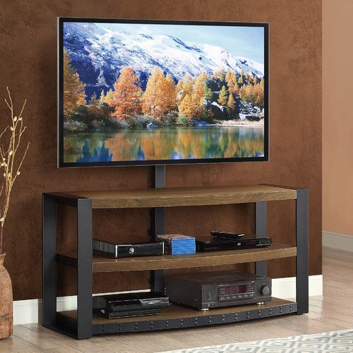 "Features:  -Santa Fe collection.  -Yes, the TV mount is removable.  TV Size Accommodated: -65"".  Product Type: -TV Stand.  Finish: -Natural.  Frame Material: -Wood/Steel.  Design: -Open shelving. Gene"