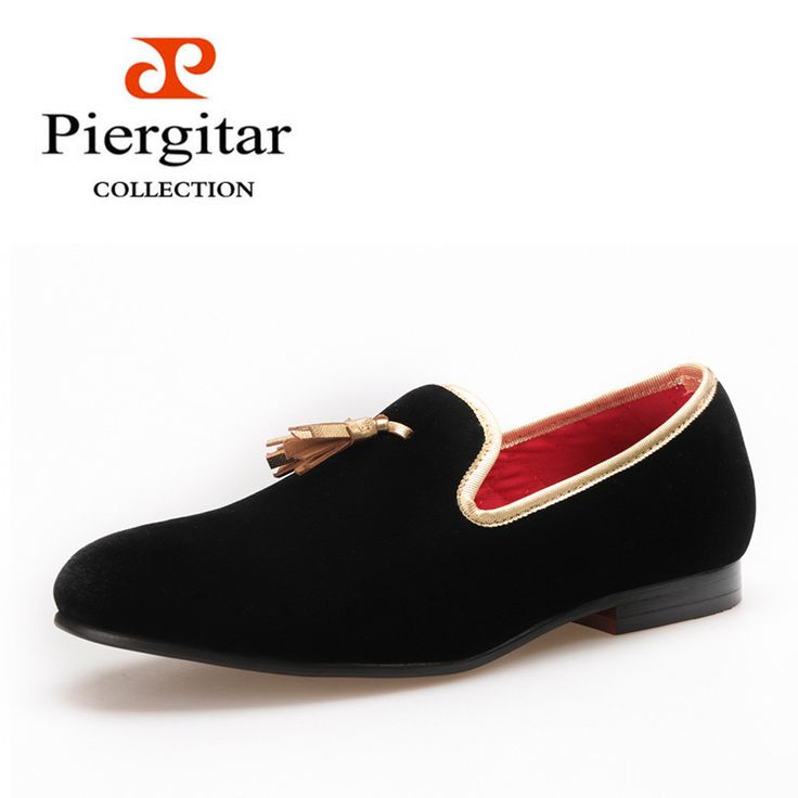 Piergitar new style 2016 Handcraft Men velvet shoes with gold tassel and gold stitching Prom and Banquet Men loafers men's flats