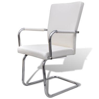 Jedálenské stoličky, biele, moderný dizajn, syntetická koža, 2 ks[3/5]
