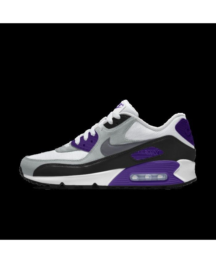 size 40 b37cf 021bf Nike Air Max 90 Essential Id Purple White Grey Black Womens Shoes Outlet