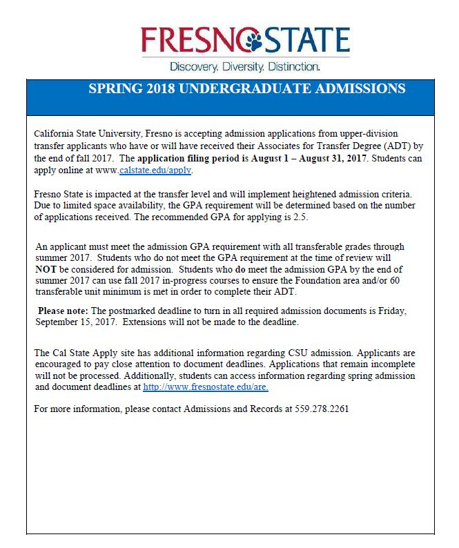 Apply To Fresno State For Spring  By August   Fresno