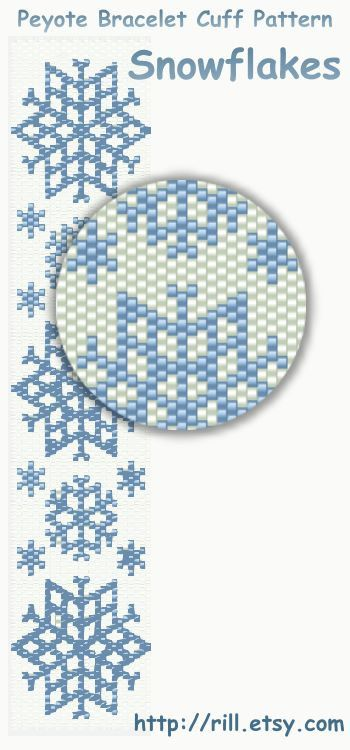 Snowflakes  winter fashion  Pattern Peyote Bracelet  by rill, ₪15.00