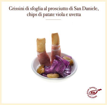 #grissini, #prosciutto di #sandaniele, #patate viola #uvetta la #ricetta: http://www.prosciuttosandaniele.it/home_prosciuttosandaniele.php?n=402&l=it