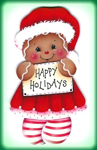 CHRISTMAS GINGERBREAD HAPPY HOLIDAYS CLIP ART