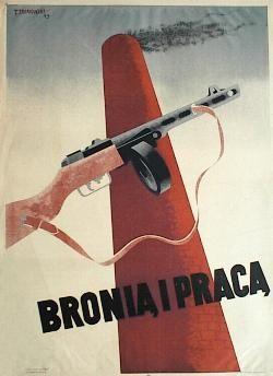 designer: Trepkowski Tadeusz poster title: Bronia i praca year of poster: 1945