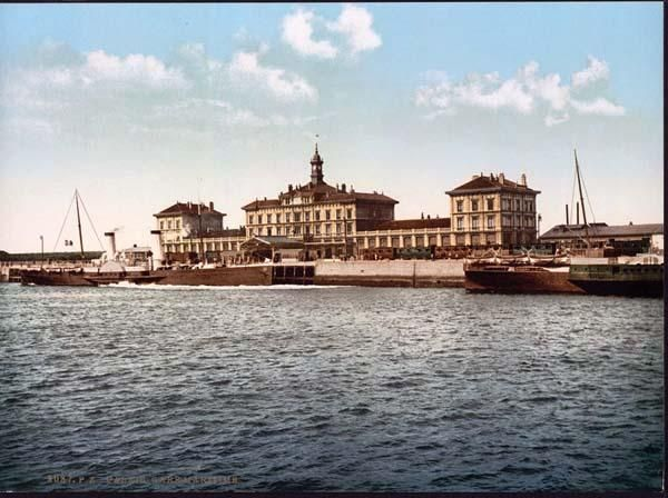 picture of Maritime railway station, Calais, France. This color photochrome print was taken between 1890 and 1900 in Calais, France